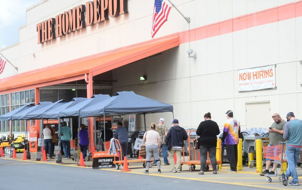 Customers in line at Home Depot