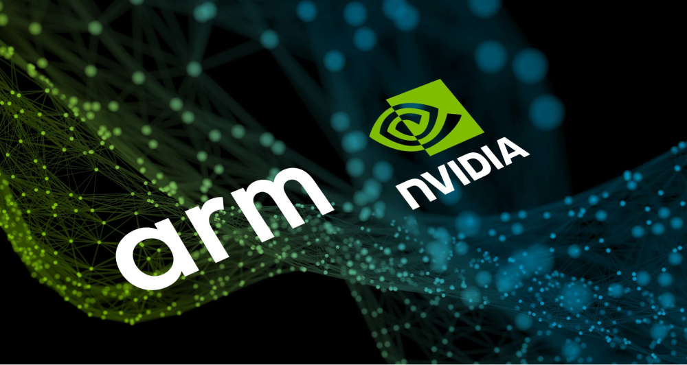 The illustration of arm and nvidia