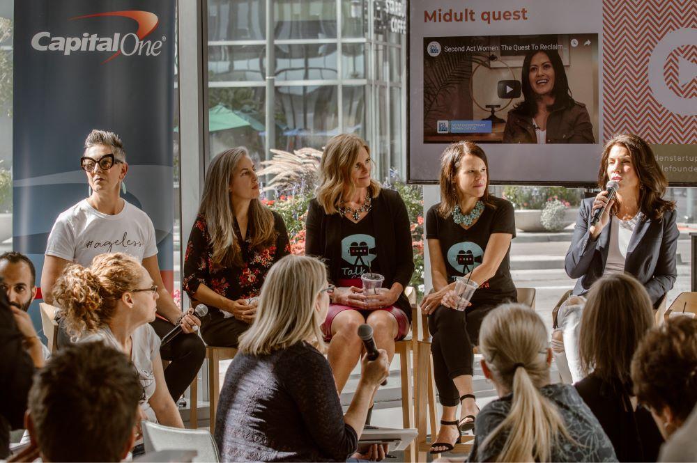 Women entrepreneurs in a talk event