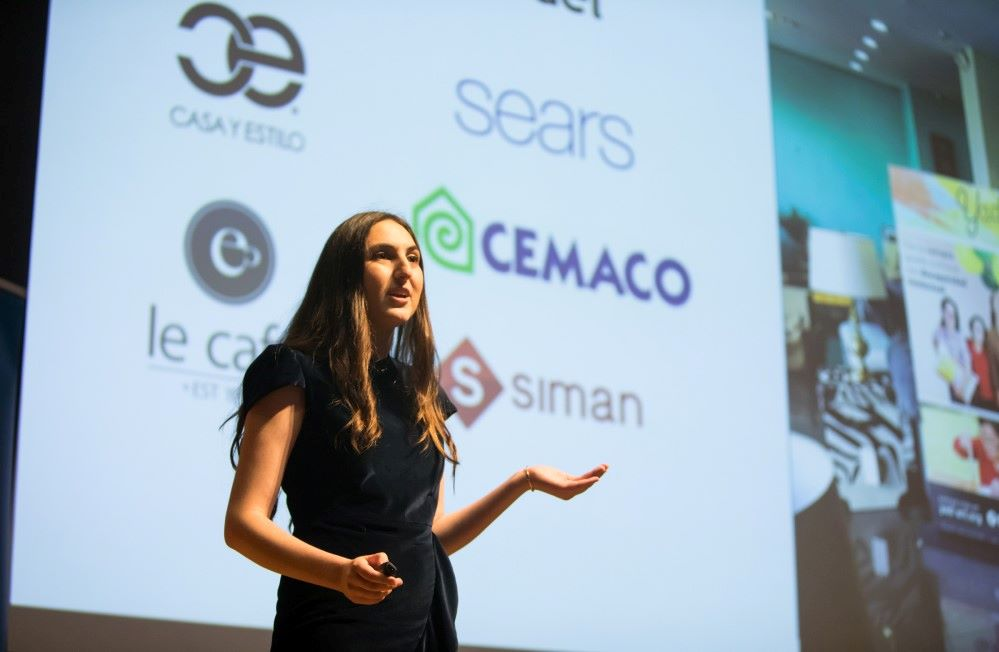 A female founder pitch on stage