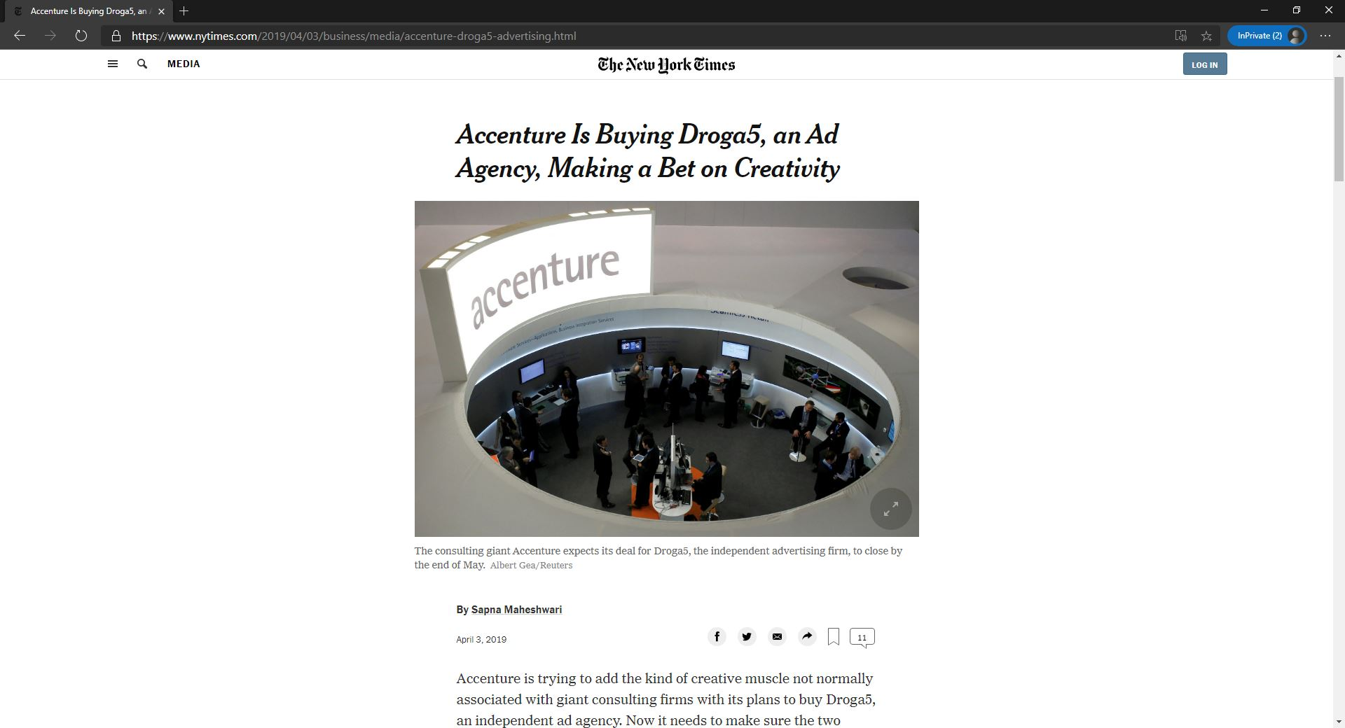 NYT post about accenture acquire Droga5