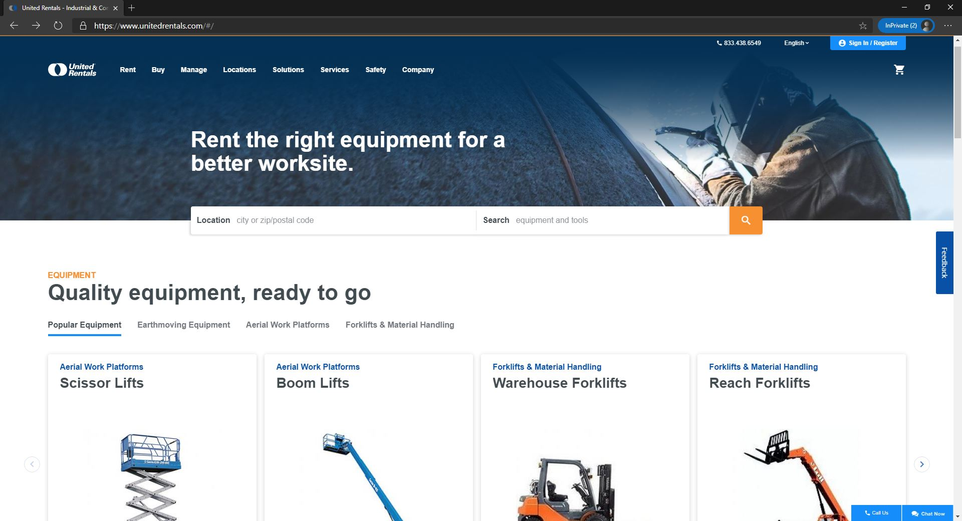 United Rentals website