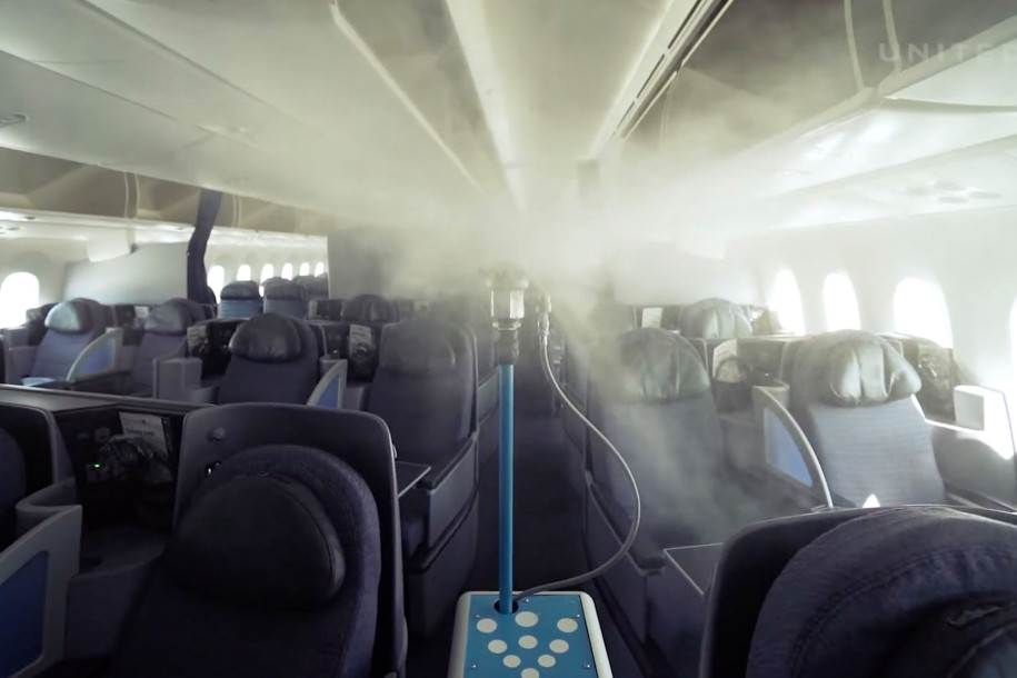 a robot sanitizes aircraft from United airlines