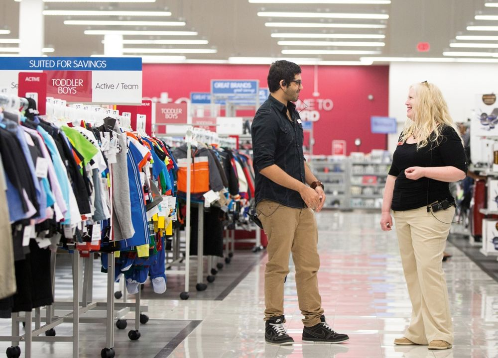 Staff talk to each other in Burlington store