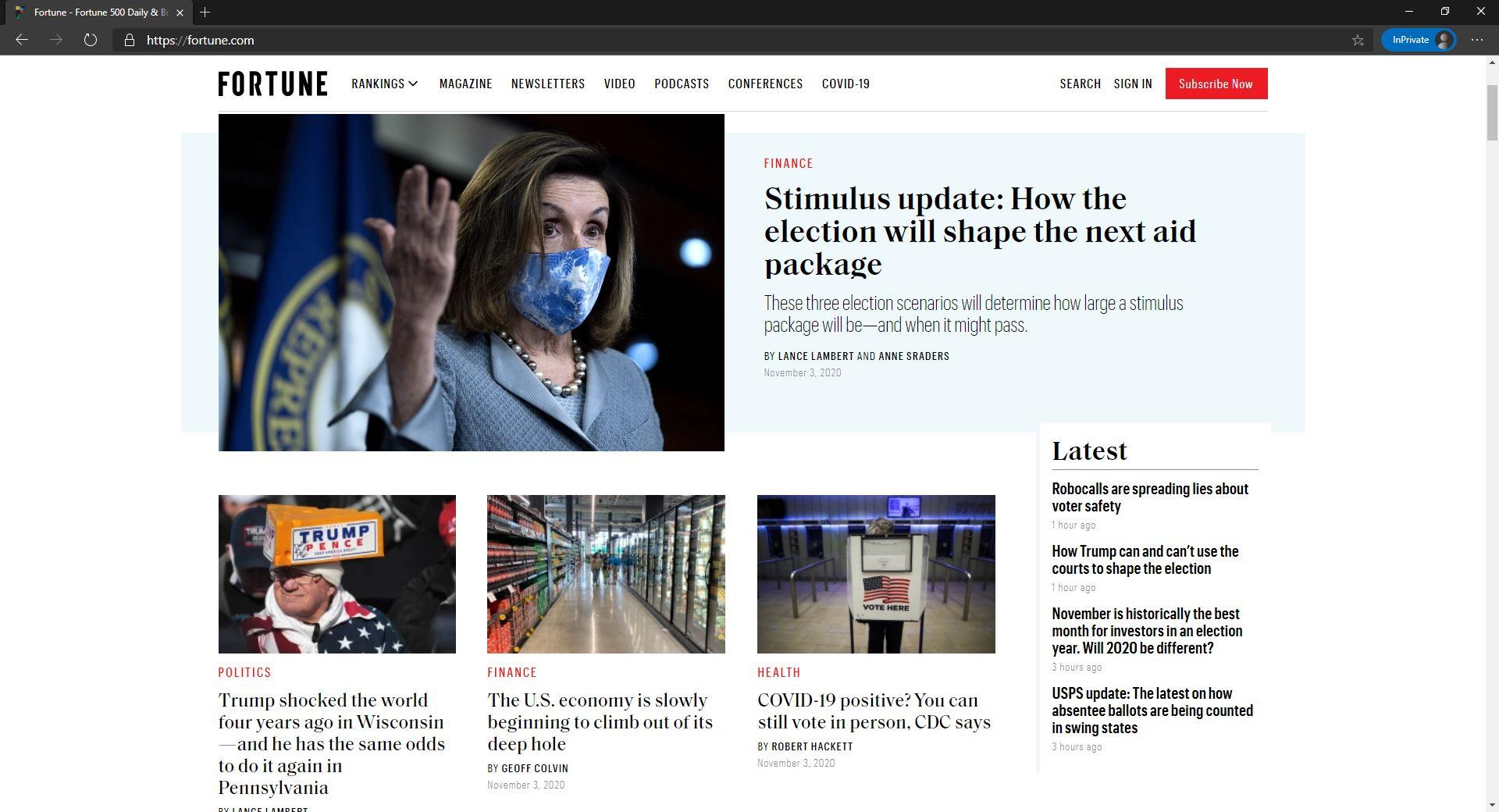 Fortune homepage website
