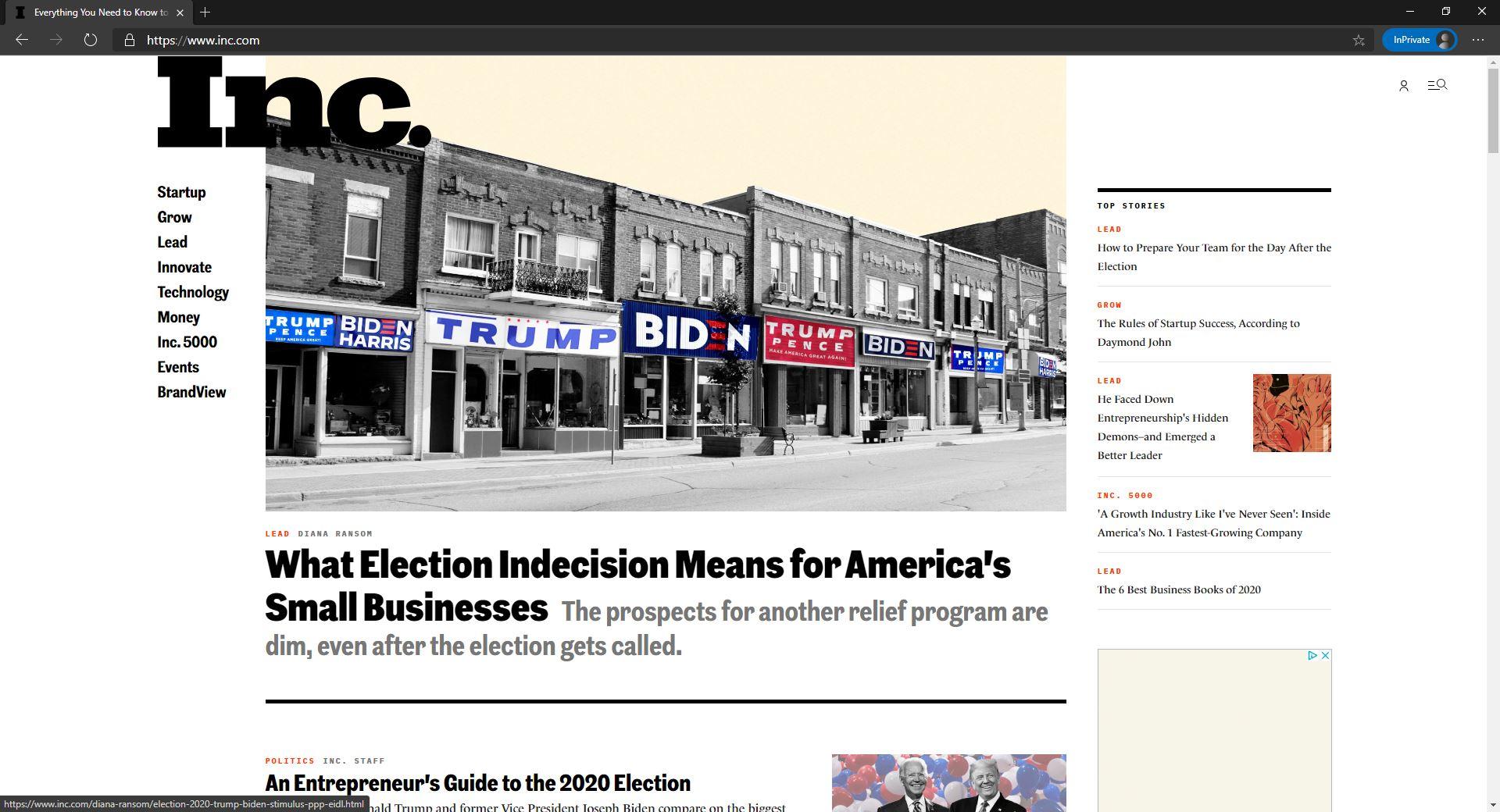 Inc homepage website