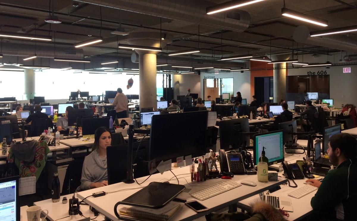 staff works in Glassdoor office in Chicago