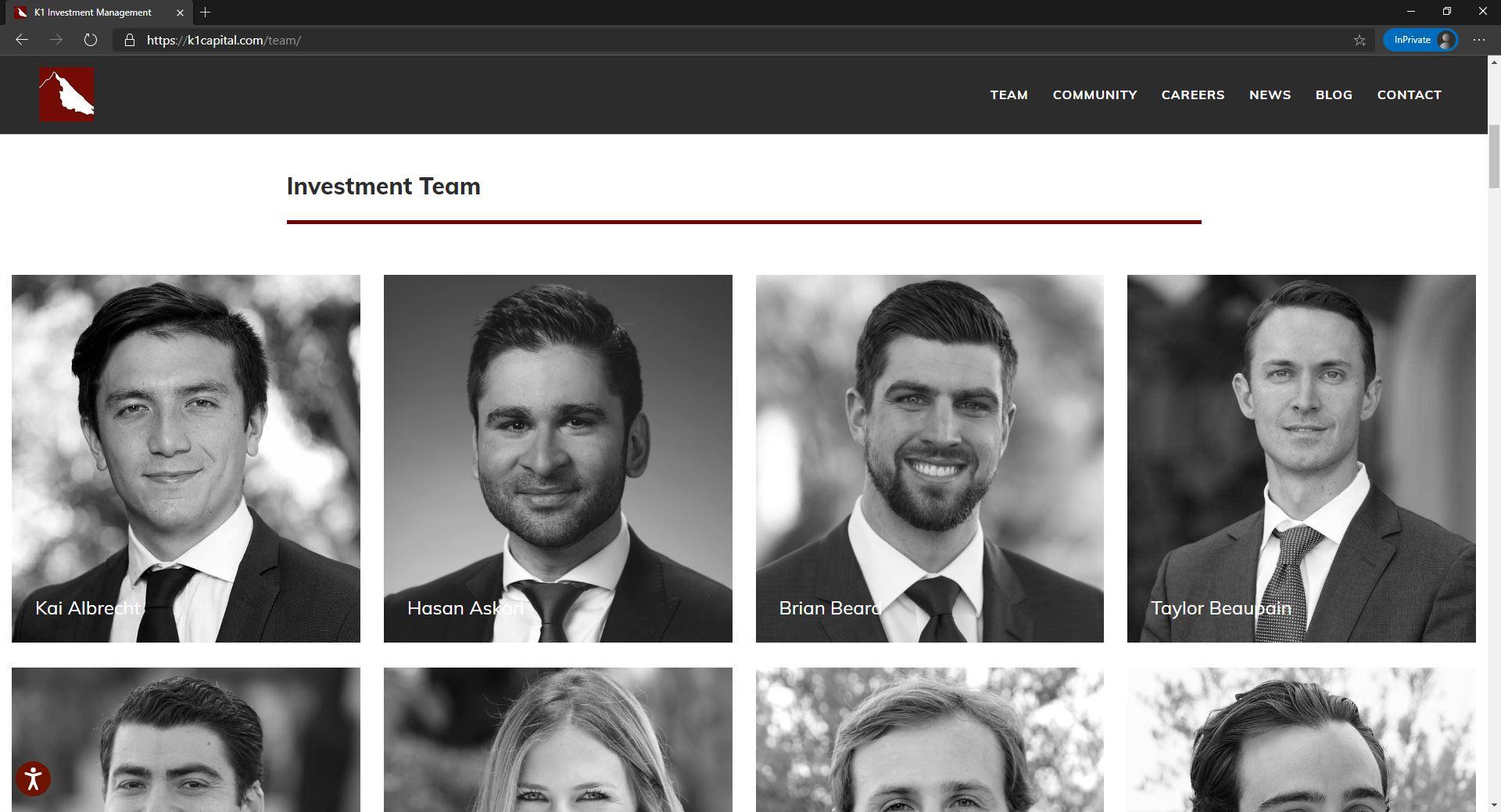 K1 Investment Management website