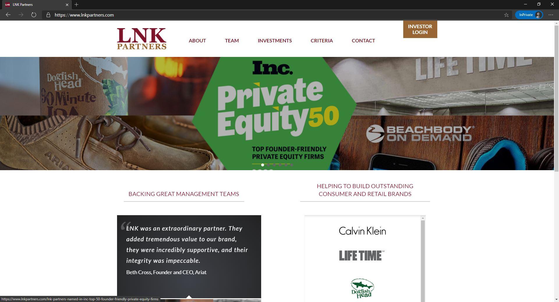 LNK Partners website