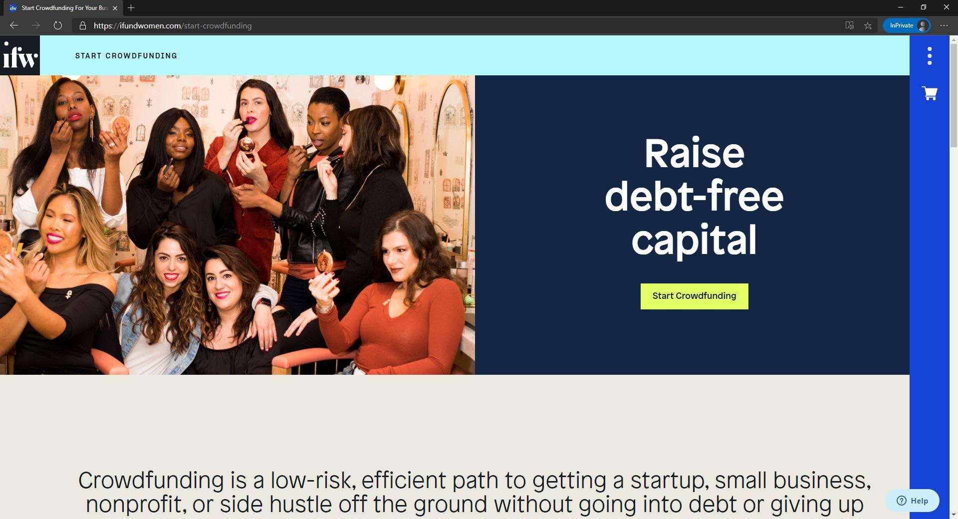 iFundWomen website homepage