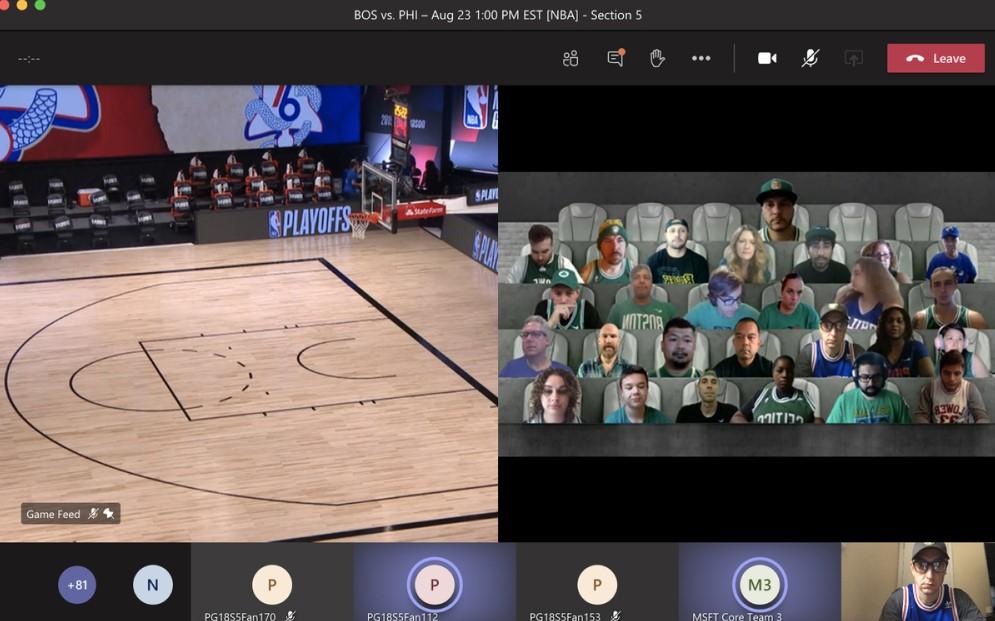 audience in an NBA game via Microsoft Teams