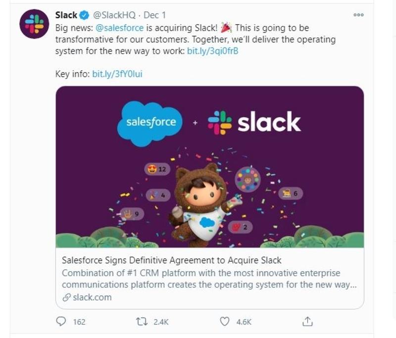 Slack announces acquisition by Salesforce