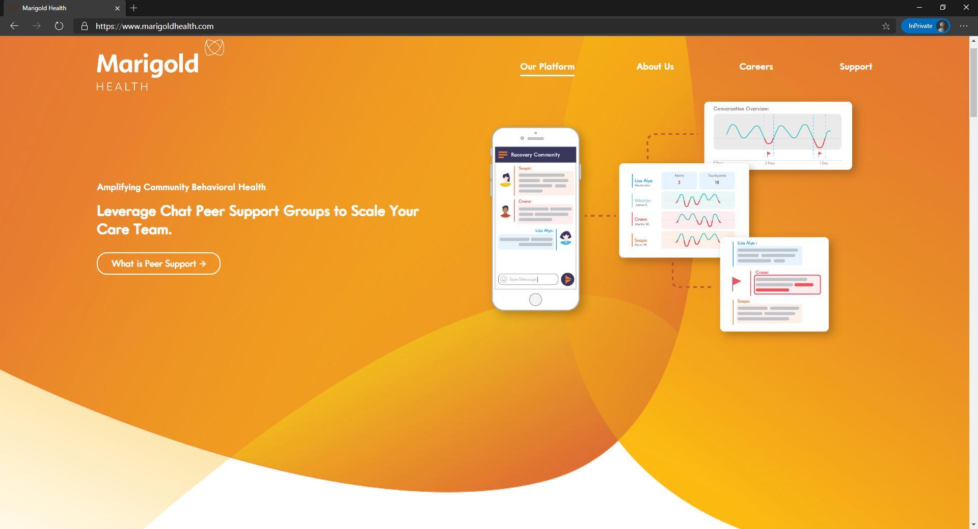 Marigold Health website homepage