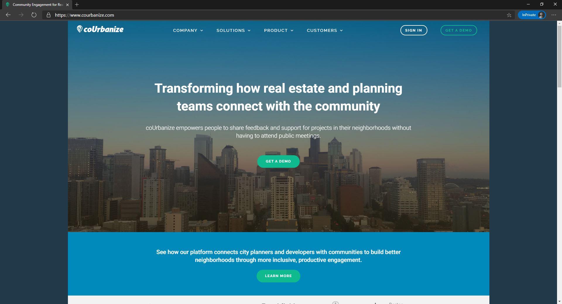 coUrbanize website homepage
