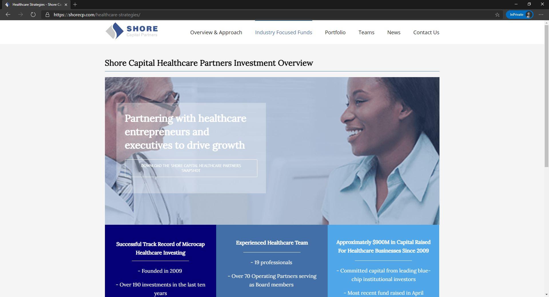 Shore Capital Partners website homepage