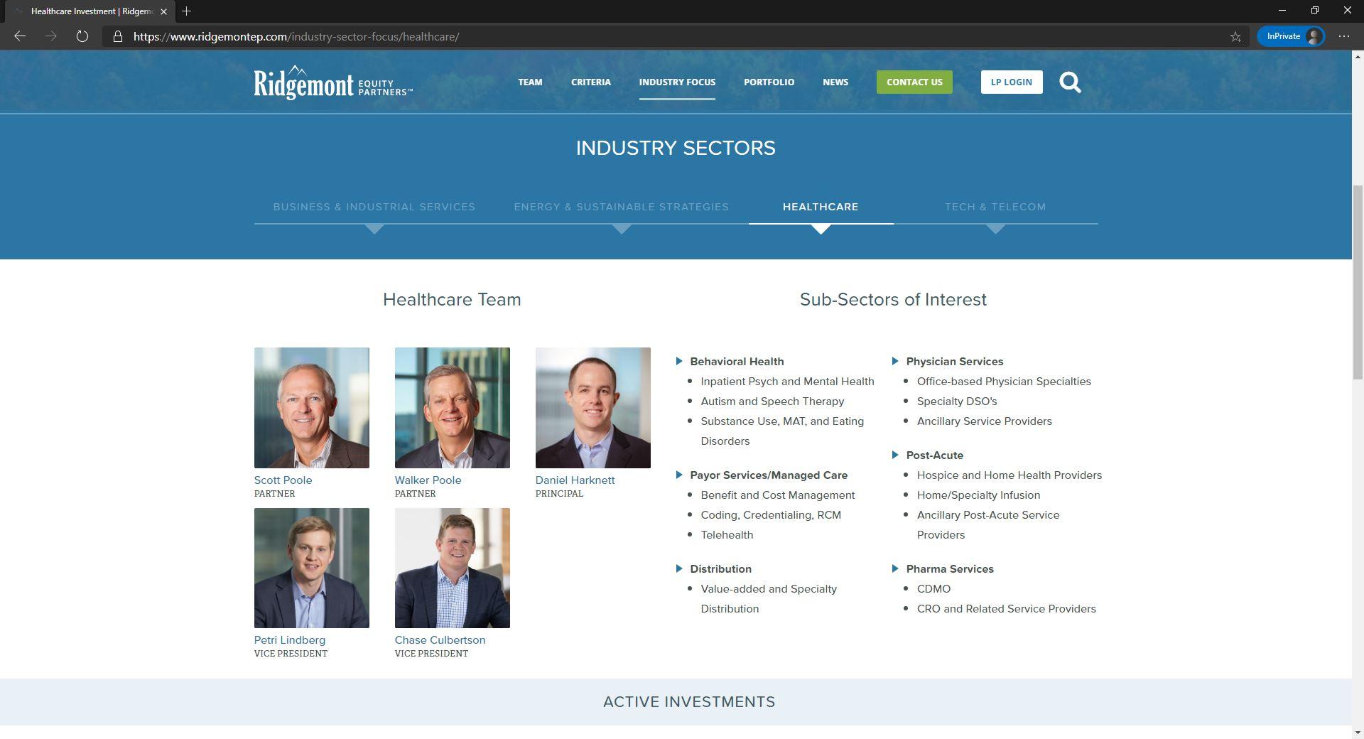 Ridgemont Equity Partners website homepage