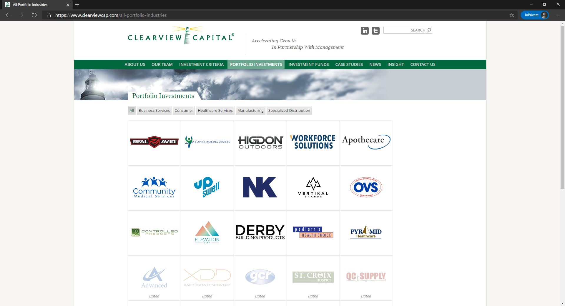 Clearview Capital website