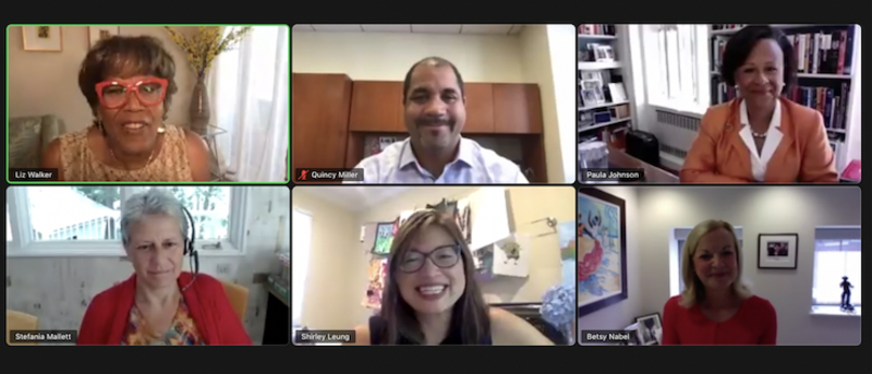 ezCater leadership team in a Zoom call prior pandemic