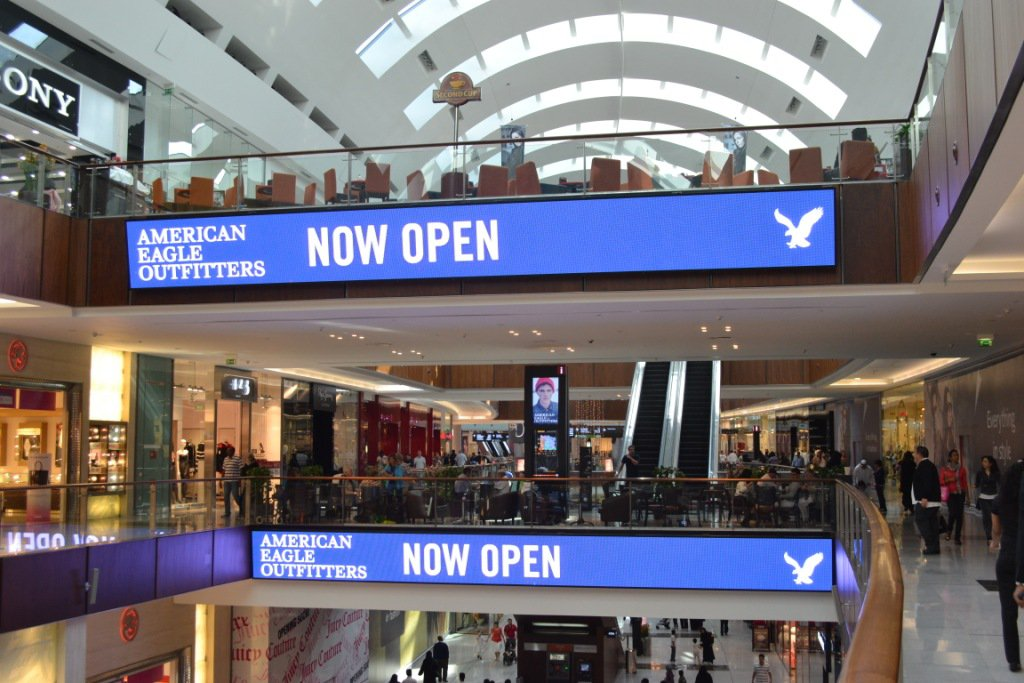 American Eagle banner in a shopping center