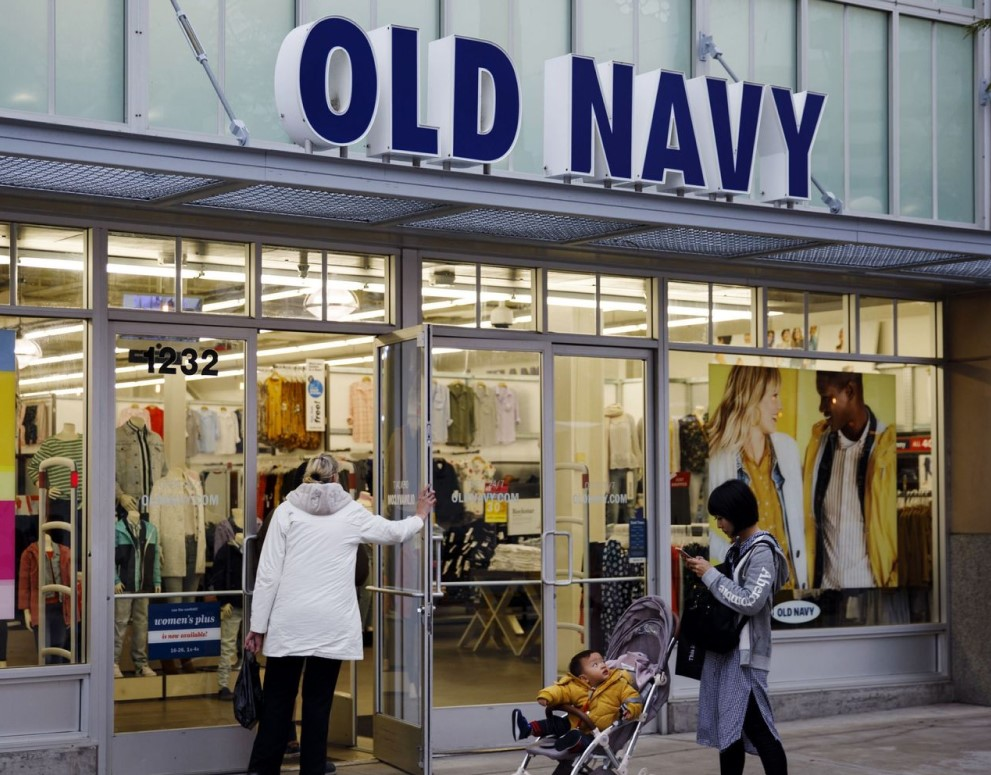 Customers walk into Old Navy store