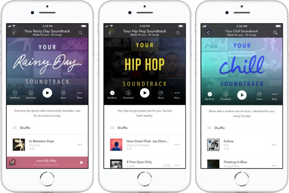 Pandora app user interface
