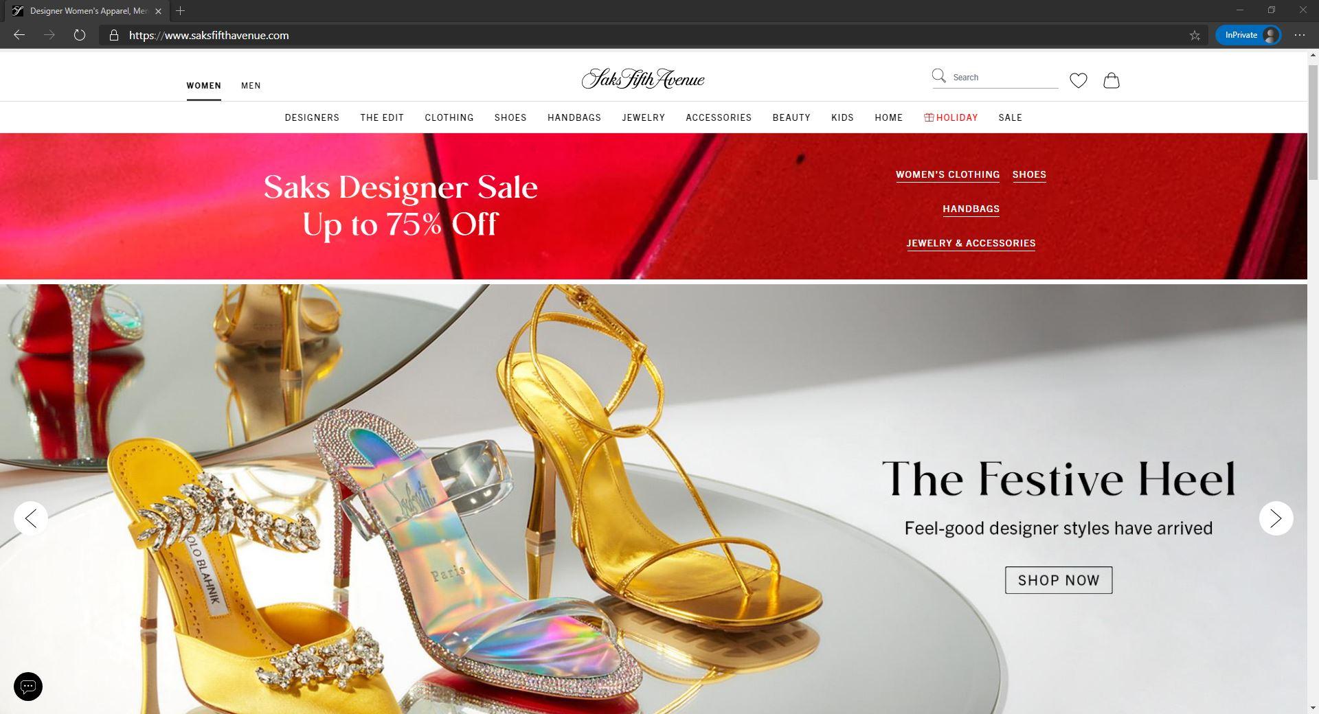 Saks Fifth Avenue website homepage
