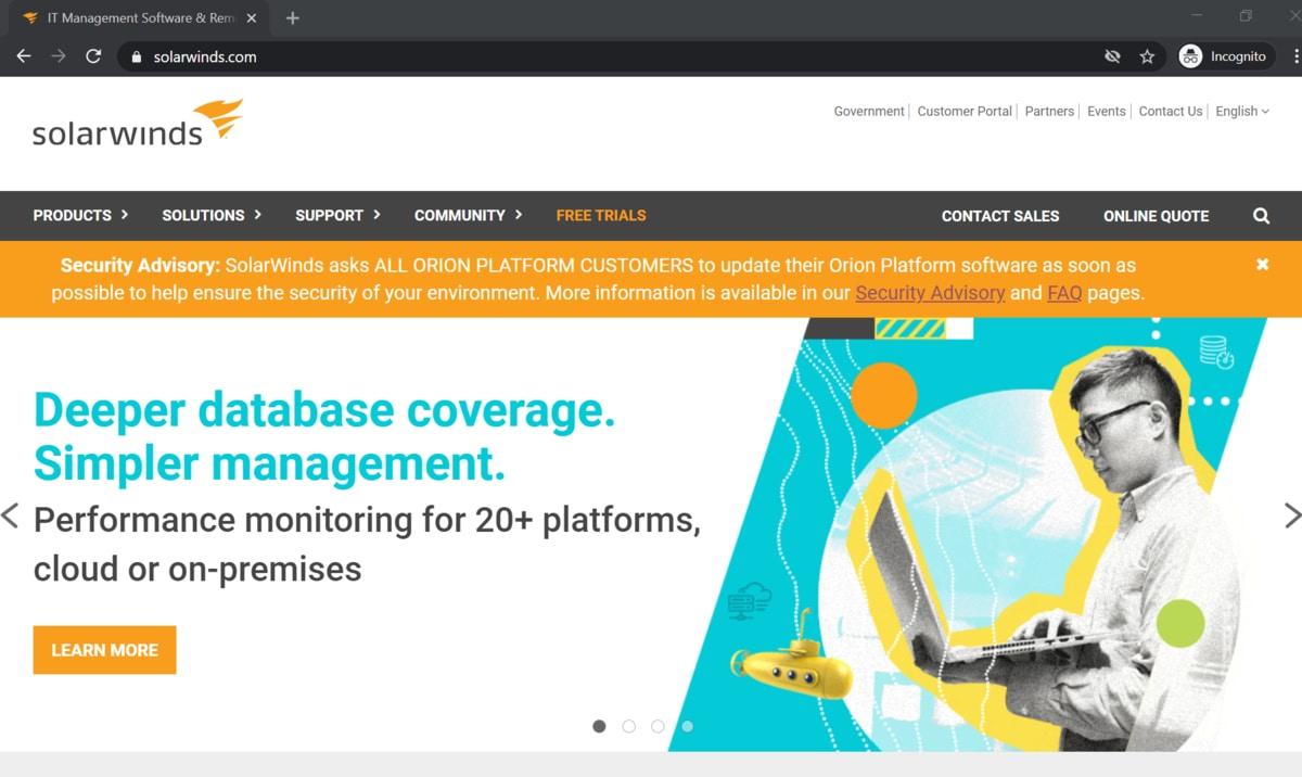 SolarWinds website homepage