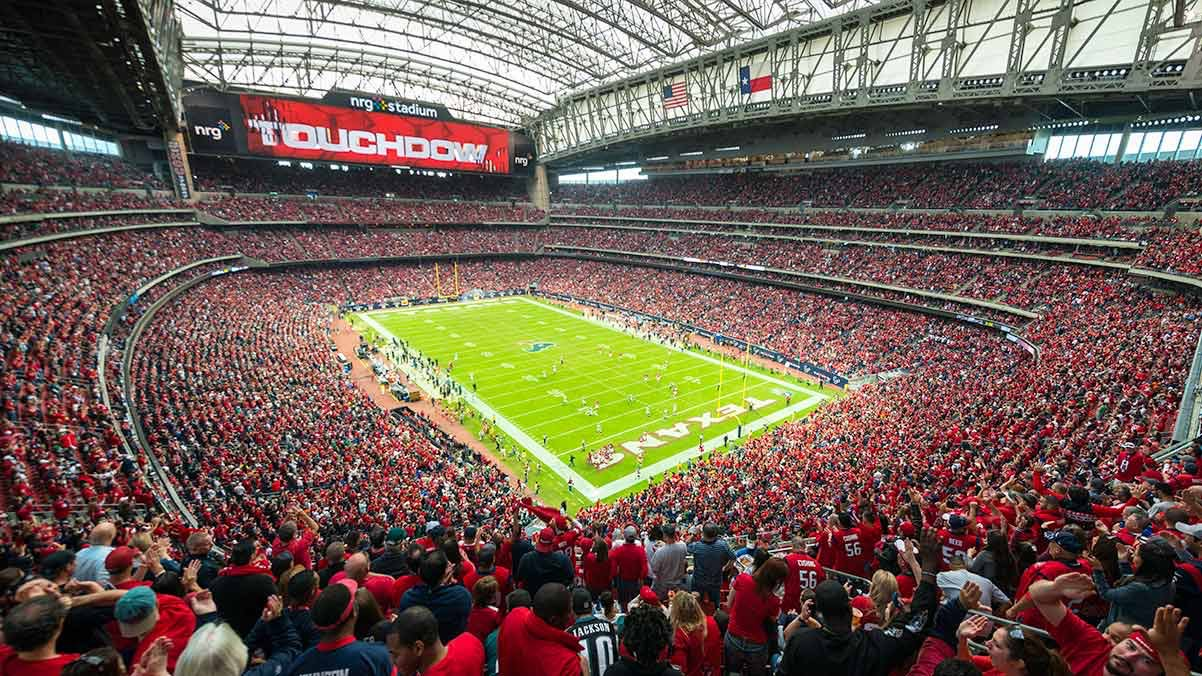 Super bowl game with full red color audience