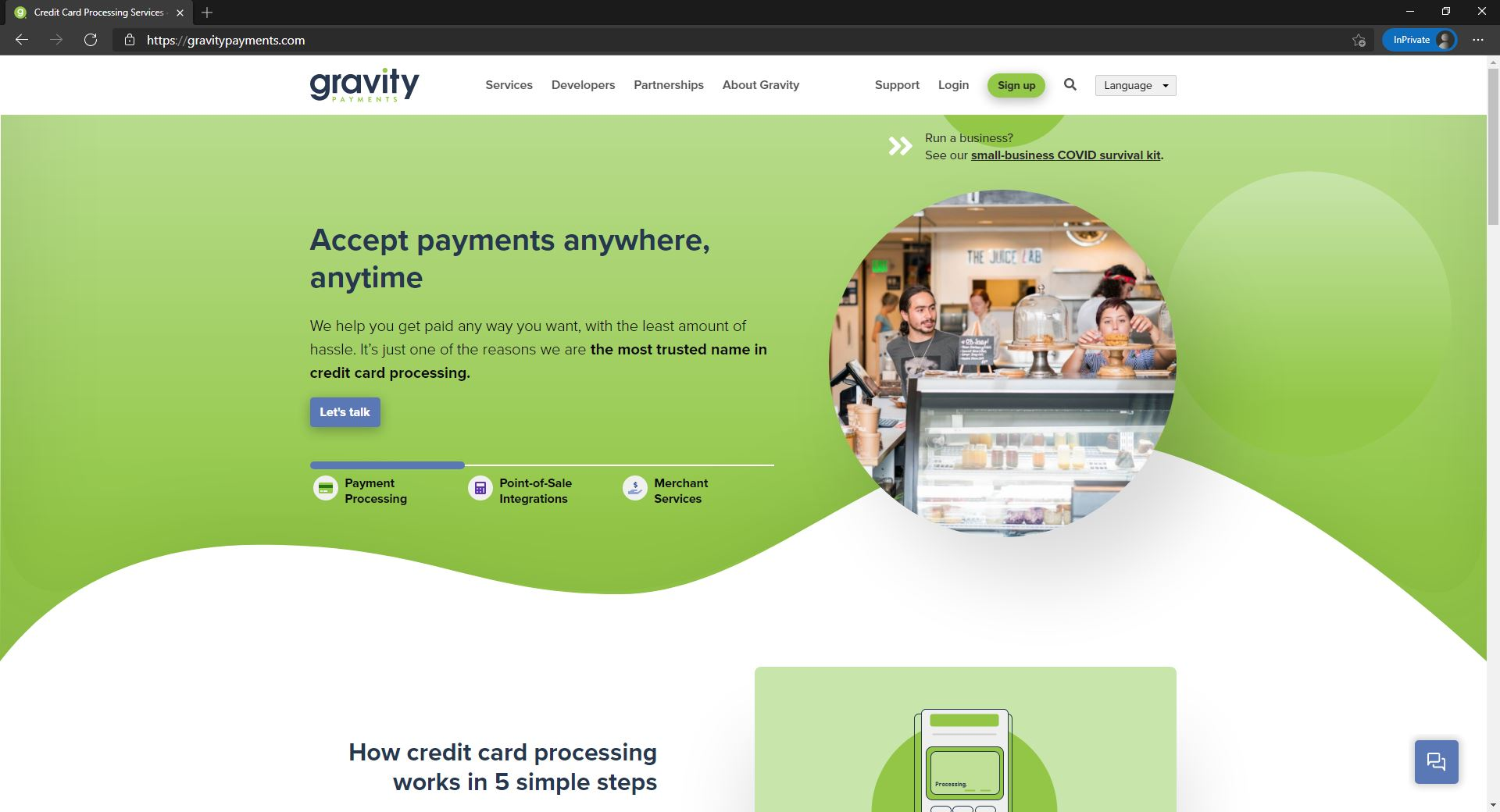 Gravity payments website homepage