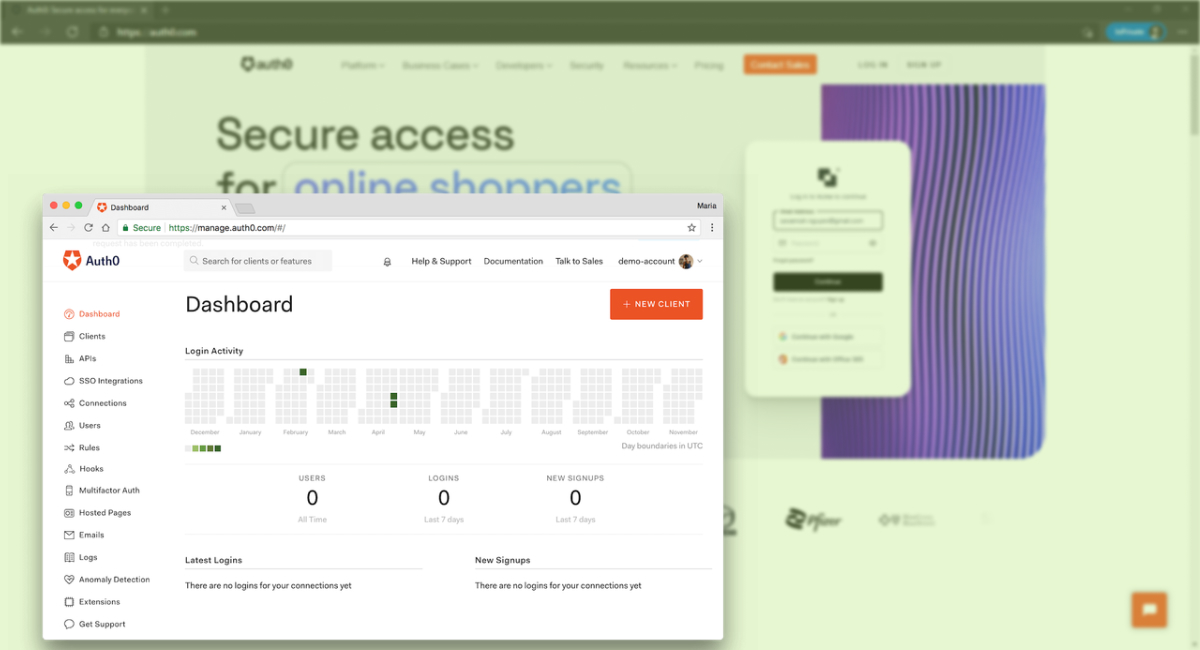 Auth0 new website and dashboard
