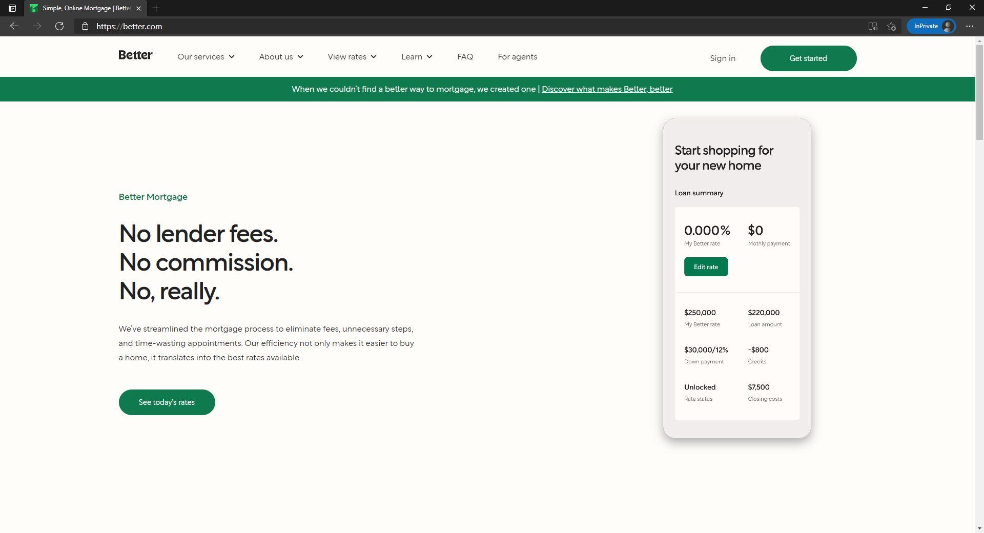 Better website homepage