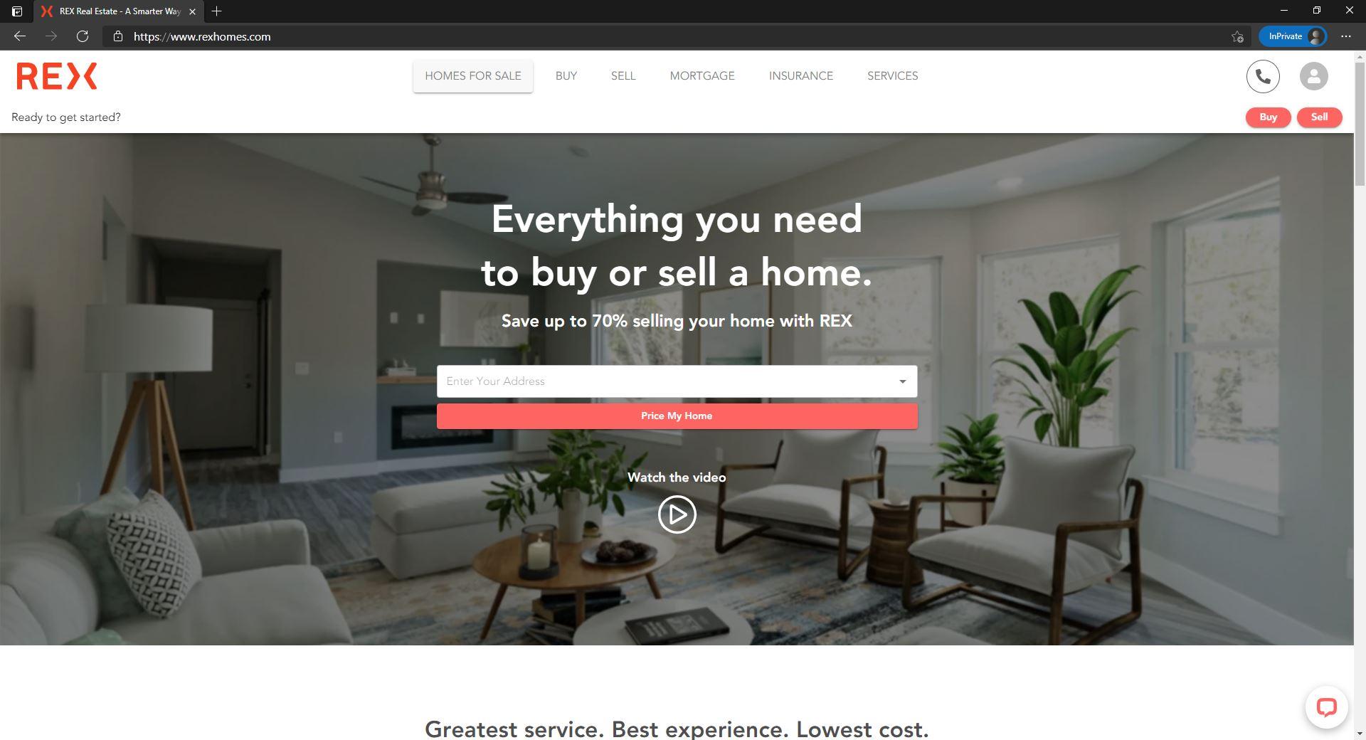 REX Homes website homepage