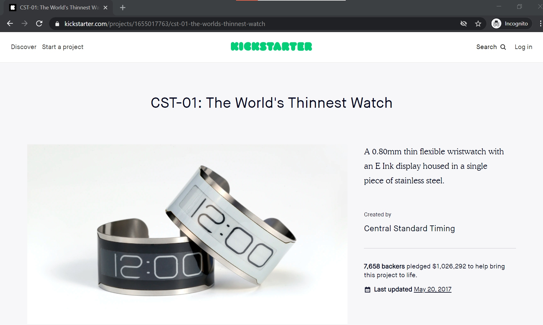 The thinnest watch demo