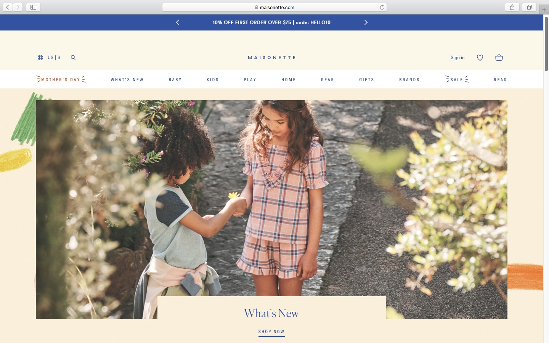 Maisonette website homepage