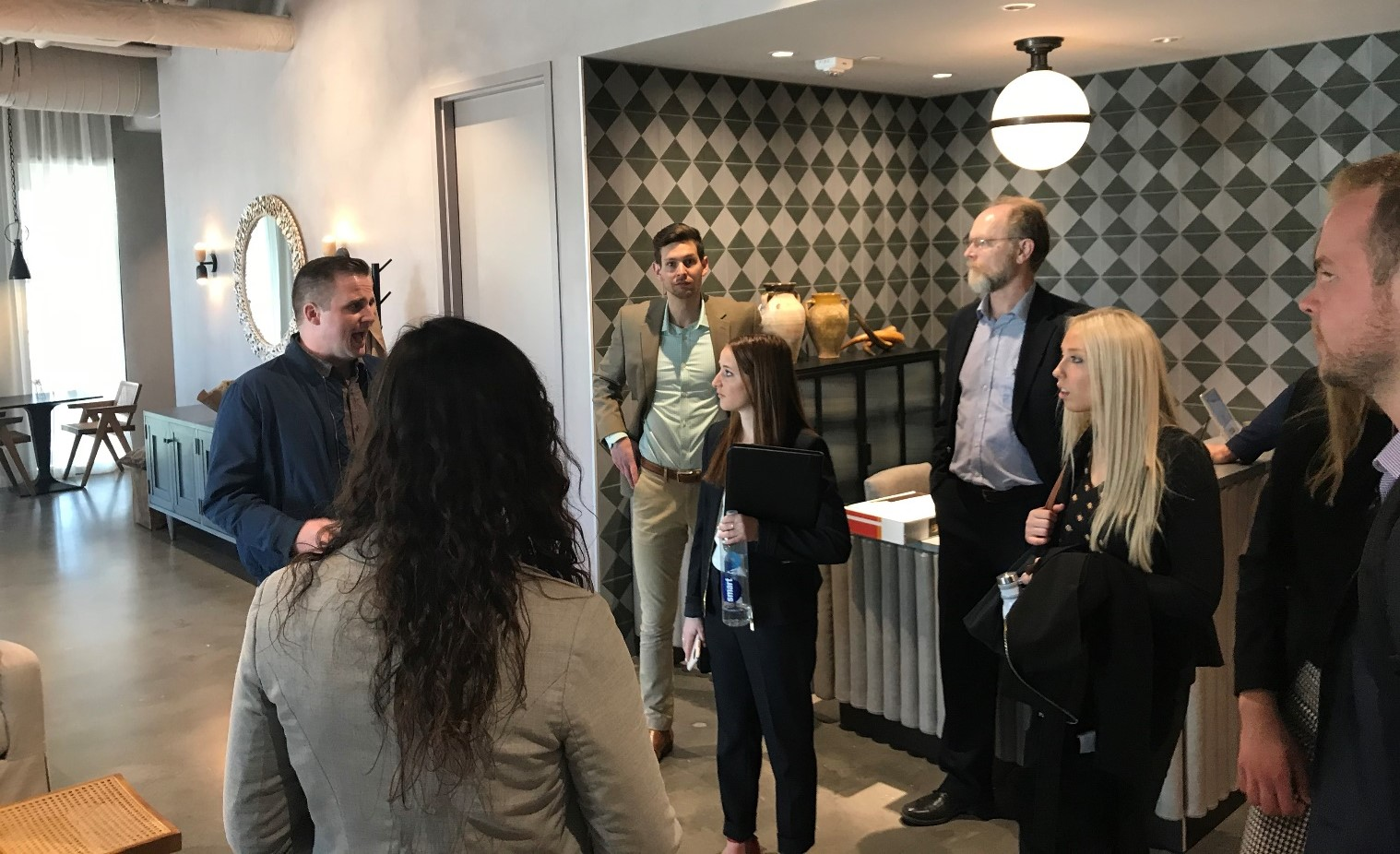 Greystar property manager in a tour at the apartments