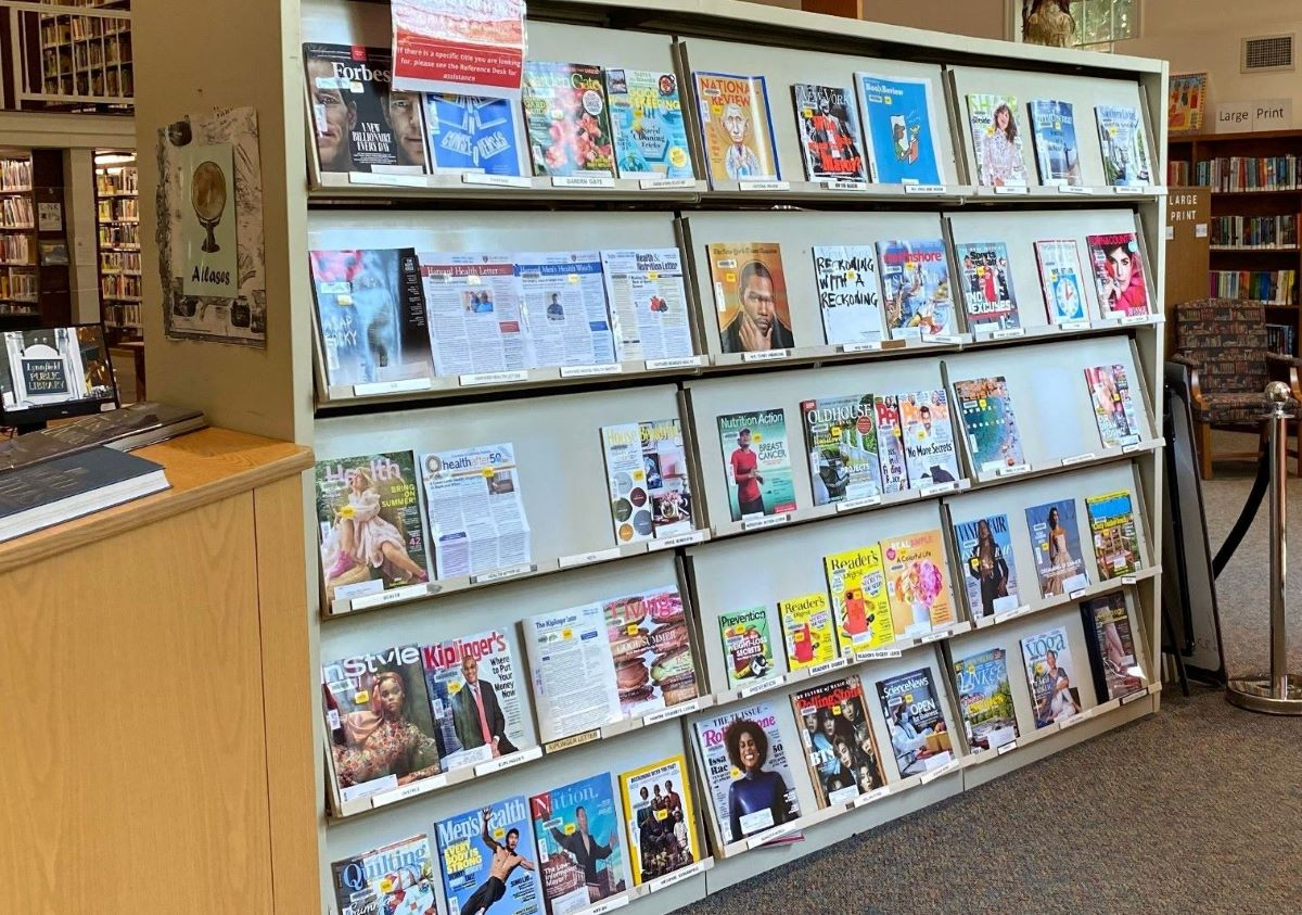 News stand at a library