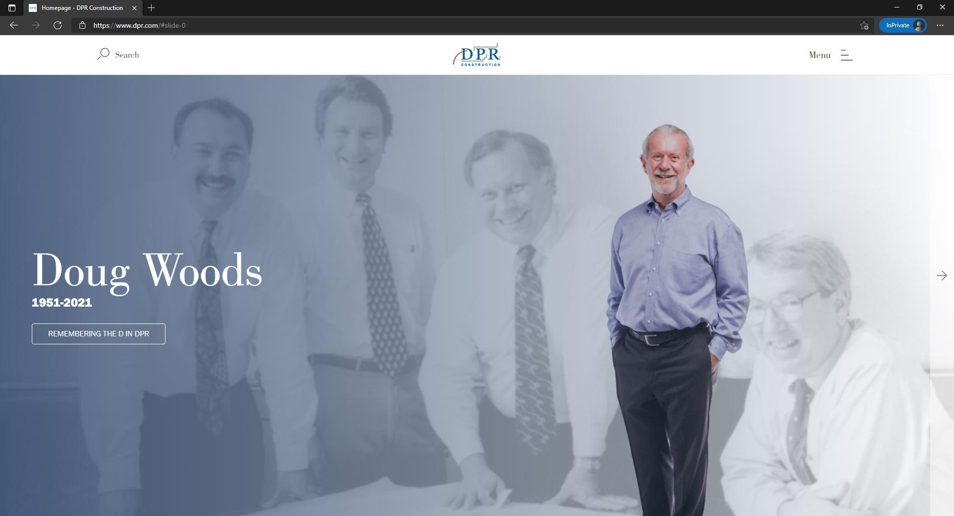 DPR website homepage