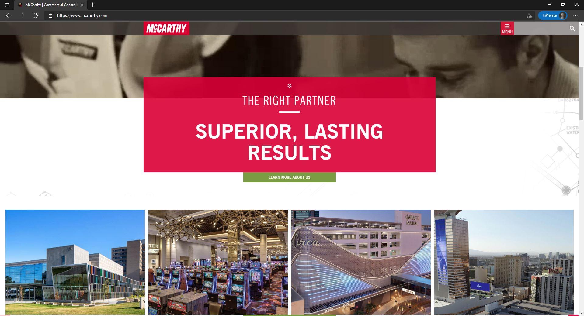McCarthy website homepage