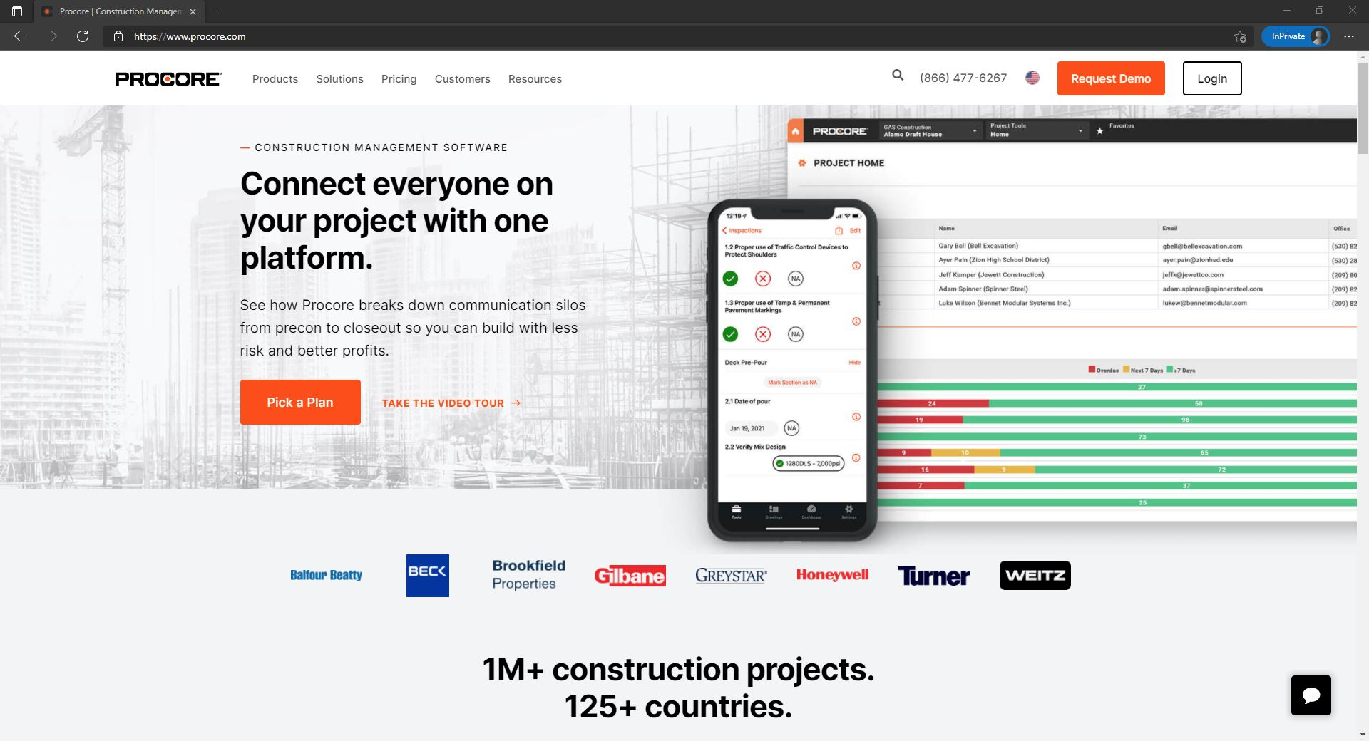 Procore website homepage