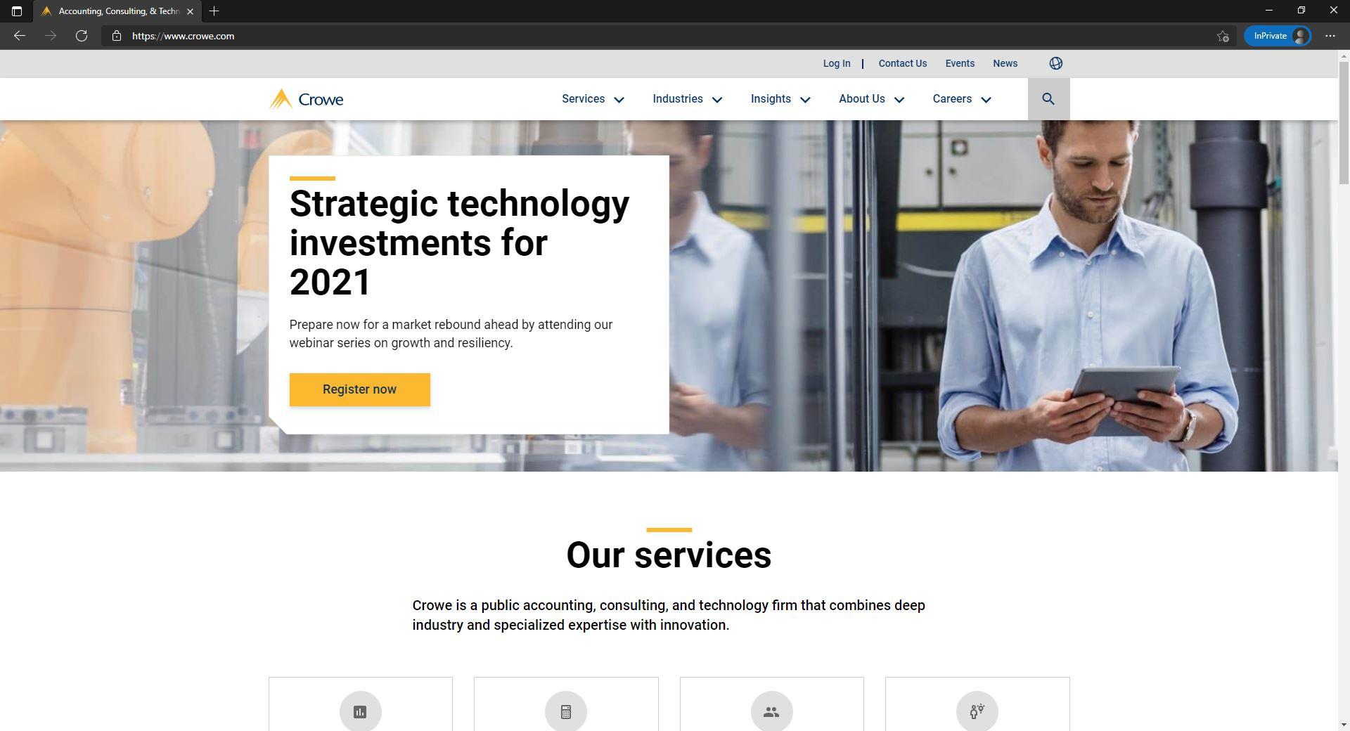Crowe website homepage