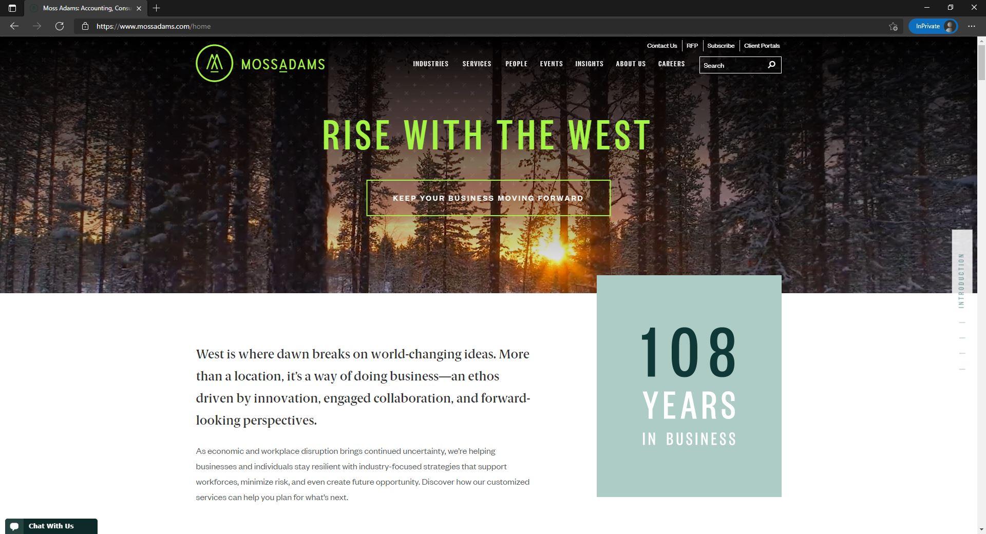 MossAdams website homepage